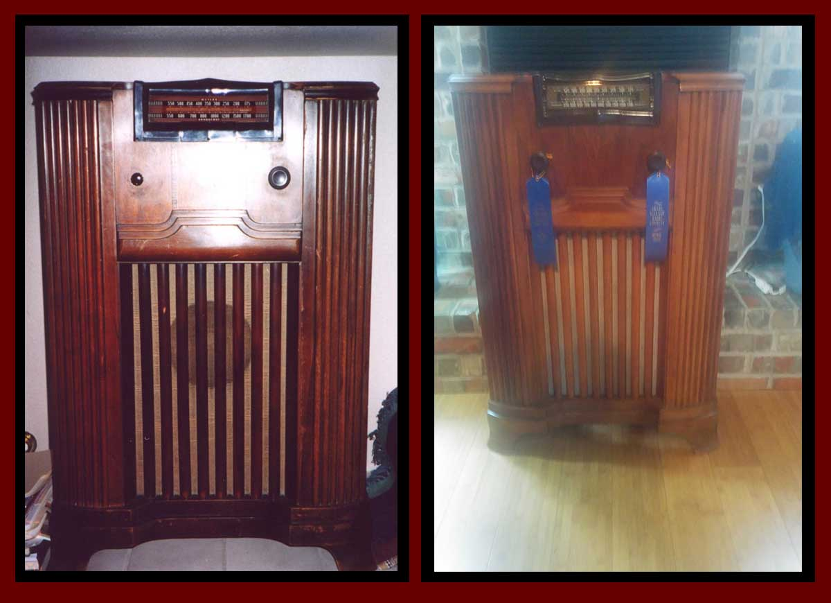 The before and after of the Philco radio.