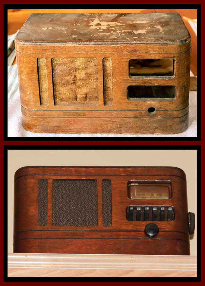 The before and after of the Western Royal WD618 radio